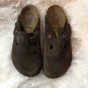Birkenstock's Boston Brown Suede Clog Sandals